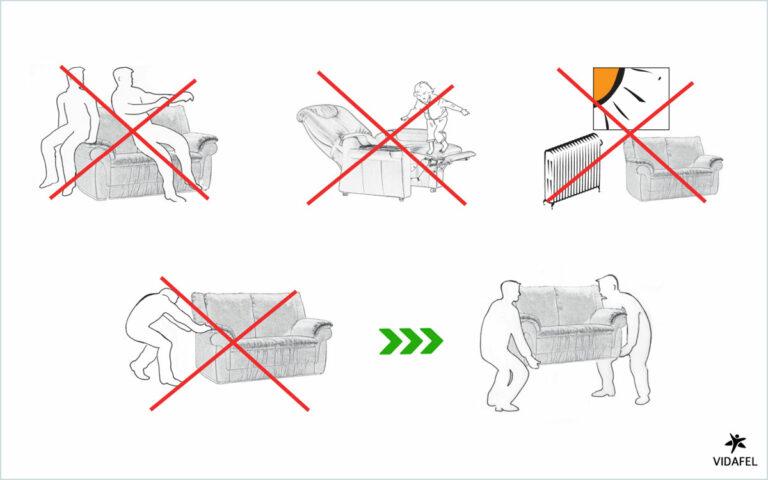 Advertencias uso sofas | VIDAFEL Sofas