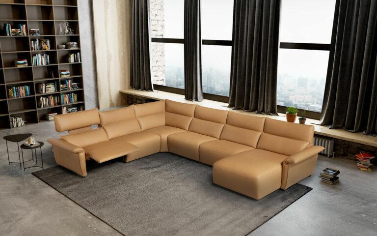Sofa rinconera italiano relax en piel Eleganza