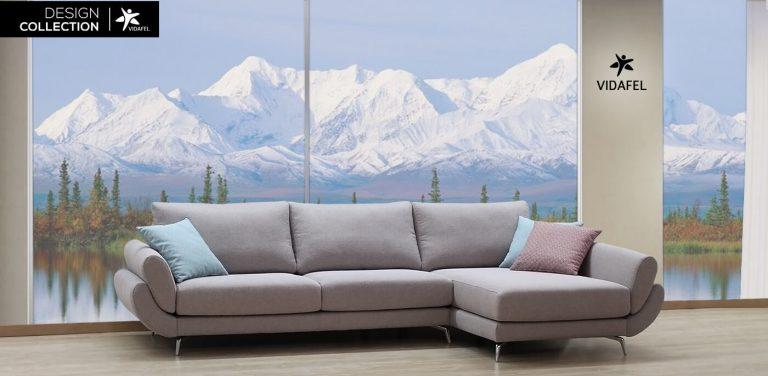 Sofá en Tela, respaldo liso, moderno, de diseño, elegante, brazos curvos, patas metálicas, sofás muy elegante, lujo, cheslon, chaise longue, cheslong