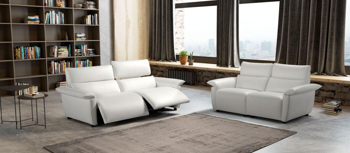 Sofa italiano relax en piel Eleganza