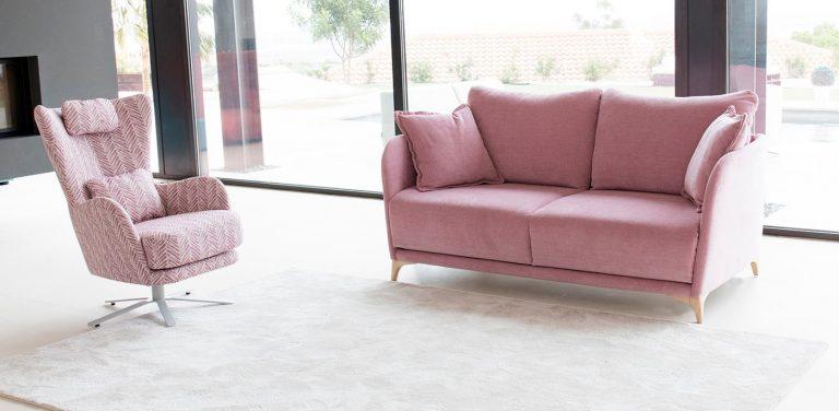Sofá cama Gala de Fama Sofás, sofá con pata alta de madera y respaldo estrecho, muy cómodo, sofá de diseño, sofá moderno