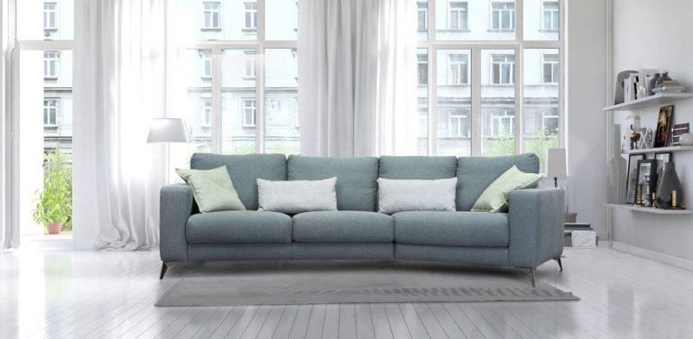 Sofá Dalila. Sofá elegante, muy cómodo, de diseño, moderno, respaldo liso, patas metálicas.