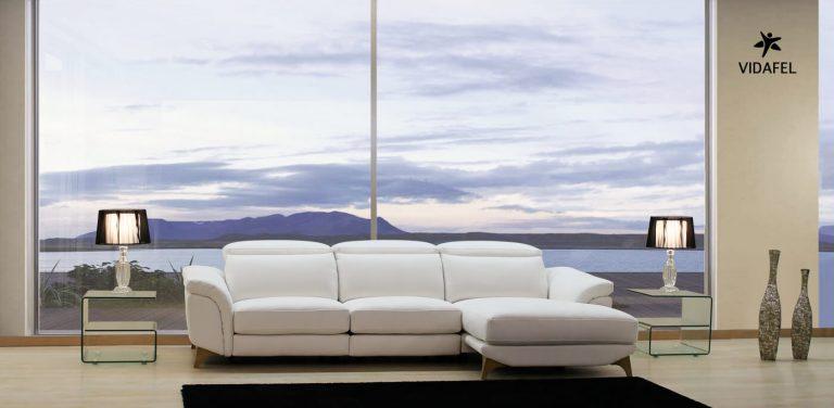 Sofá en Tela Relax, muy cómodo, de diseño, moderno, almohadillas de brazo, cabezal reclinable italiano, chaise longue, cheslon, cheslong
