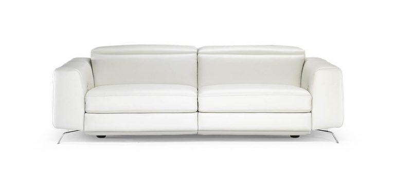Sofá relax en piel Natuzzi, cabezal italiano motorizado, patas metálicas, de diseño moderno, sofá de tres plazas
